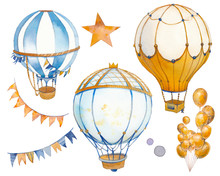 Watercolor Carnival Set. Hand Painted Clip Art With Party Elements Isolated On White Background. Hot Air Balloons, Bunting, Stars.