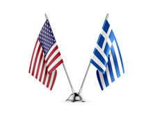 Desk Flags, United States  America  And Greece, Isolated On White Background. 3d Image