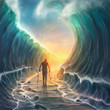 canvas print picture - Man with chains and parted sea