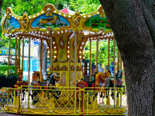 Kiev Ukraine 08/15/2016. Colored Carousels For A Children's Attraction.