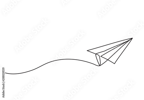 Obraz Paper plane drawing vector using continuous single one line art style isolated on white background. - fototapety do salonu