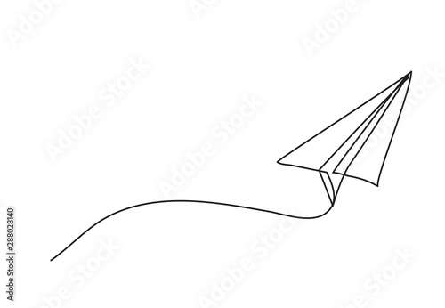 Fotografie, Obraz Paper plane drawing vector using continuous single one line art style isolated on white background