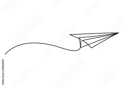 Obraz na plátně Paper plane drawing vector using continuous single one line art style isolated on white background