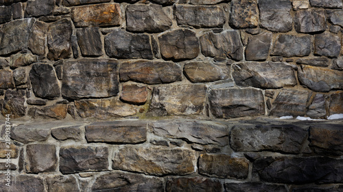 Texture of dark aged stone wall