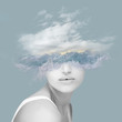 canvas print picture - Beautiful woman artwork with wave, water, ocean and clouds, double exposure, overlay, abstact collage can be used as background