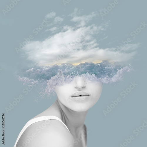 Cuadros en Lienzo Beautiful woman artwork with wave, water, ocean and clouds, double exposure, ove