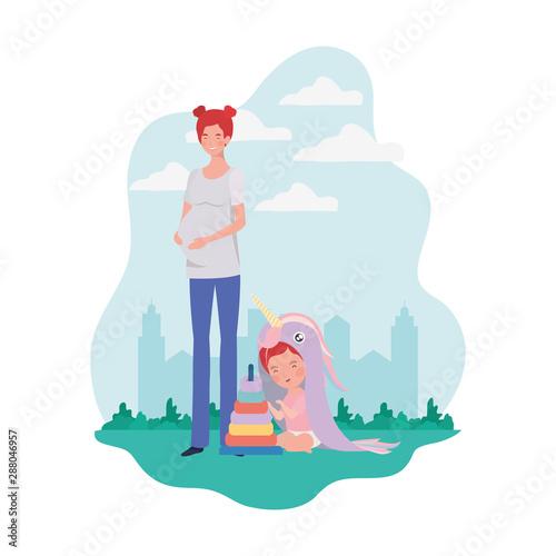Fototapeta cute pregnancy mother with little girl in the camp obraz na płótnie