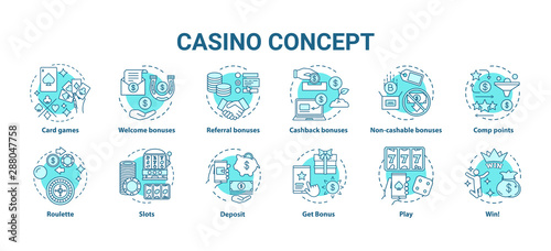 Fototapeta Casino concept icons set. Online games of chance and bonuses idea thin line illustrations. Slot machines, card games, roulette. Gambling. Vector isolated outline drawings pack. Editable stroke obraz