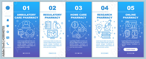 Pharmacy types onboarding mobile web pages vector template Wallpaper Mural