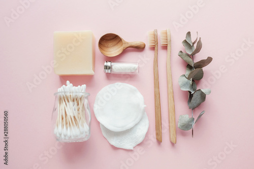 Bamboo earbuds, toothbrushes, natural floss, cotton makeup removal pads, shampoo Wallpaper Mural