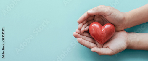 hands holding red heart on blue background, health care, love, organ donation, family insurance and CSR concept, world heart day, world health day, fair trade