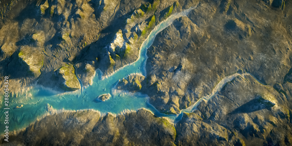 Fototapety, obrazy: aerial view fantasy landscape with river