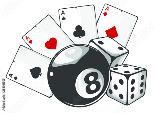 Fotografie, Obraz  aces playing cards with number eight ball isolated on white background