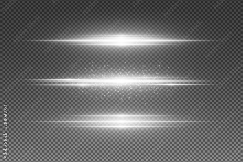 Set of abstract white light effect isolated on transparent background. Flying luminous particles. Random neon lines. Vector illustration