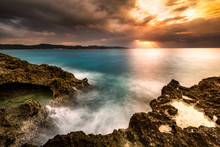 Long Exposure Sunset Over A Tr...
