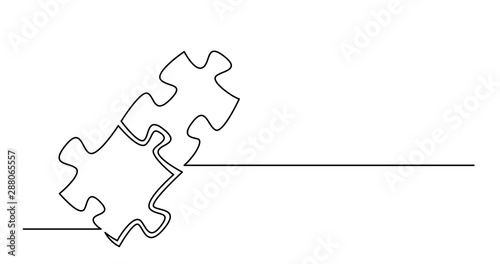 Obraz continuous line drawing of two puzzle pieces connected together - fototapety do salonu