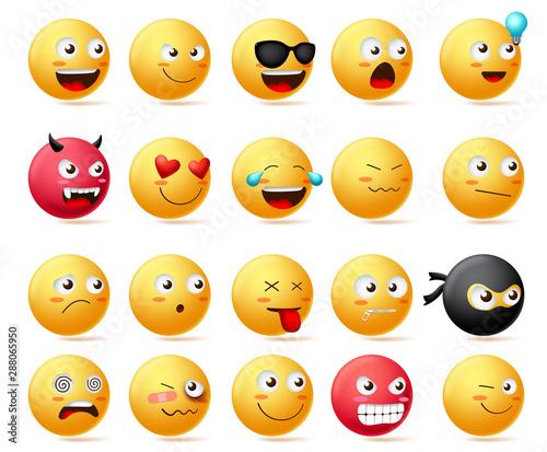 Smileys emoji faces vector set Canvas Print