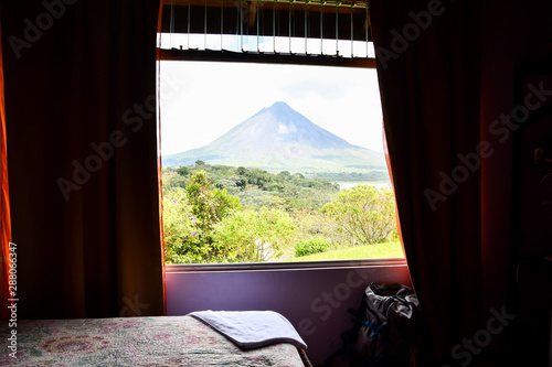 Keuken foto achterwand Peking view from the window, photo as a background ,taken in Arenal Volcano lake park in Costa rica central america