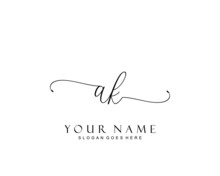 Initial AK Beauty Monogram And Elegant Logo Design, Handwriting Logo Of Initial Signature, Wedding, Fashion, Floral And Botanical With Creative Template.
