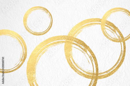 Fényképezés 金色の円で構成さた背景素材(アブストラクト)
