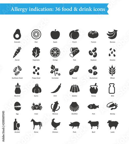 36 food allergens, Restaurant menu icons Wallpaper Mural
