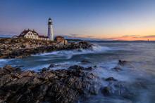 Portland Head Light Lighthouse At Port Williams Park Of Cape Elizabeth Of Maine,  USA At Dawn