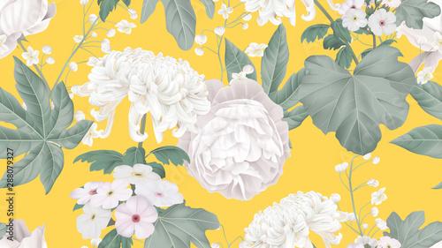 Botanical seamless pattern, rose, Chrysanthemum morifolium, Woolly rock jasmine and Thalictrum delavayi with leaves on bright yellow, pastel vintage theme