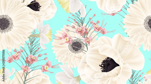 Botanical seamless pattern, white anemone, white gerbera, white daffodil and peacock flowers on bright blue, pastel vintage theme