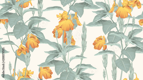 Botanical seamless pattern, yellow crossandra flowers with leaves on light brown, pastel vintage theme