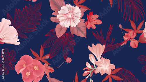 Botanical seamless pattern, various red flowers and leaves on dark blue, red and blue tones