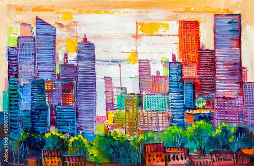 Obraz Abstrakcyjny obraz miasta - fototapety do salonu