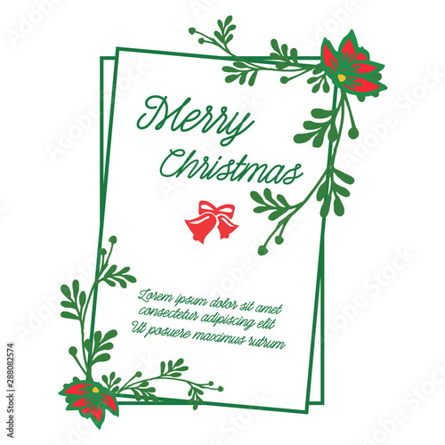 Fototapety, obrazy: Greeting card design of merry christmas, with pattern of leaf wreath frame. Vector
