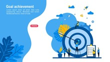 Website Or Landing Page Of Target With An Arrow, Hit The Target, Goal Achievement With Tiny People Character Concept Vector Illustration, Suitable For Web Landing Page,Wallpaper, Background, Card,
