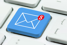 Email Alert And Message Sending / Receiving Concept : Envelope And Unread Text Message Sign On A Computer Keyboard Button, Depicts Un-opened / Recieved Message In An Inbox Wait For Recipient To Read