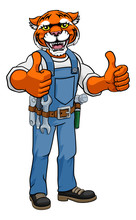 A Tiger Animal Construction Cartoon Mascot Handyman Or Builder Maintenance Contractor Giving A Double Thumbs Up