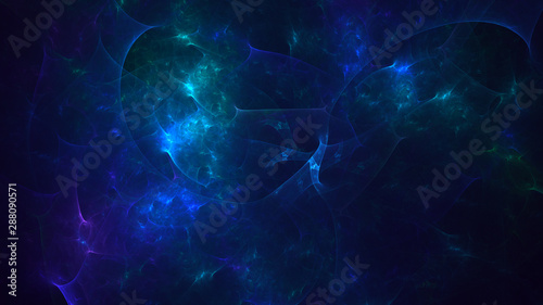 3D rendering abstract blue fractal light background - 288090571