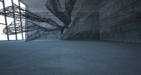Empty dark abstract concrete smooth architectural interior of chaotic lines. 3D illustration and rendering