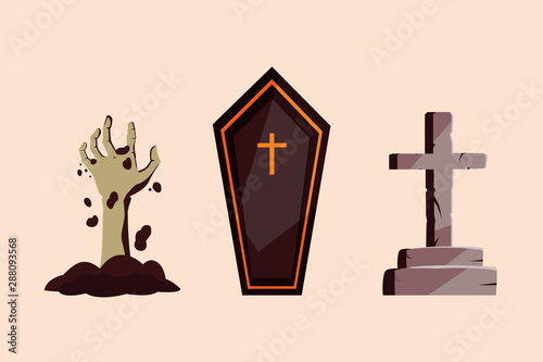 Obraz na plátně coffin with hand zombie and cross stone of halloween