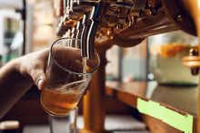 Barman Pouring Fresh Beer In Glass, Closeup