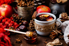Cozy Time At Home With A Metal Mug Of Hot Mulled Wine. Autumn, Warm Clothes, Natural Ingredients, Spice, Fruit And Honey. Corkscrew To Open Wine. Rustic Decor, Festive Mood