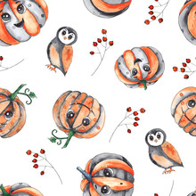 Watercolor Autumn Seamless Patterns For Children's Halloween Party With Pumpkins, Hats, Black Cat, Owl, Cauldron, Bat, Lollipop, Ice Cream, Balloons, Spider, Web, Ghost