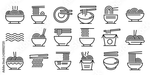 Photo  Ramen icons set