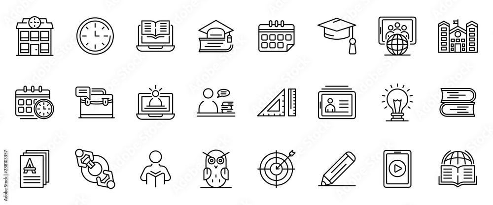 Fototapeta Tutor icons set. Outline set of tutor vector icons for web design isolated on white background