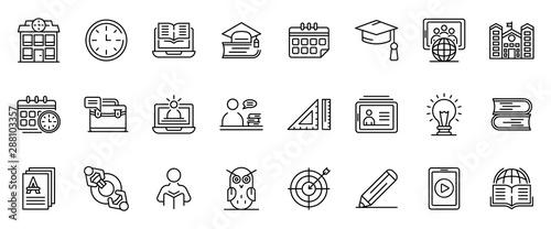 Fototapeta Tutor icons set. Outline set of tutor vector icons for web design isolated on white background obraz