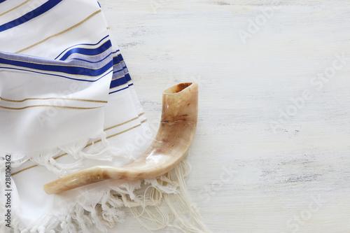 religion image of shofar (horn) on white prayer talit Fototapeta