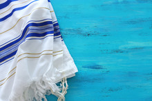 Religion Concept Of White Prayer Shawl - Tallit, Jewish Religious Symbol