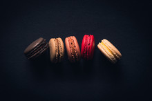 Macaroons On Black Colour Background