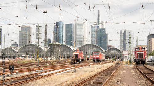 Foto op Canvas Spoorlijn Frankfurter Hauptbahnhof Rückseite