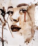 Abstrakcjonistyczny akwareli kobiety portret robić z kawą - 288105370