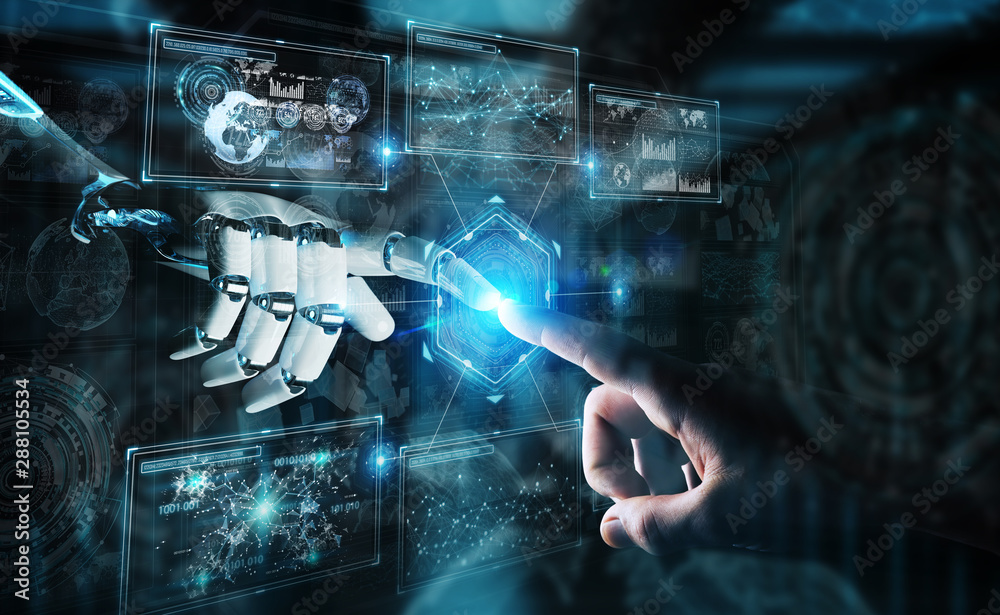 Fototapety, obrazy: Robot hand and human hand touching digital graph interface 3D rendering